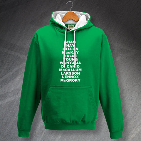 Personalised Celtic Dream Team Contrast Hoodie with Choice of 11 Player Names
