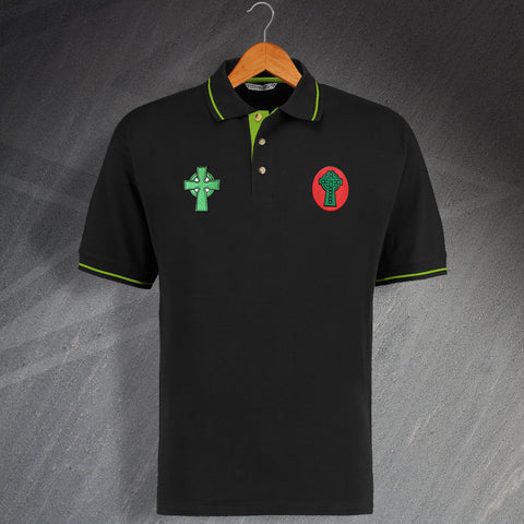 Retro Celtic Contrast Polo Shirt with Embroidered 1888 & 1890 Badges