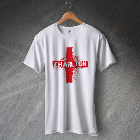 Charlton Football T-Shirt Grunge Flag of England