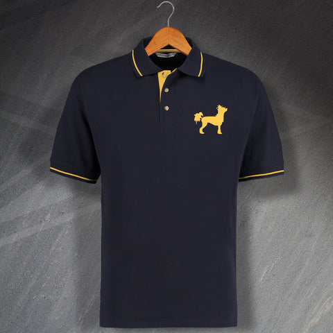 Chinese Crested Dog Embroidered Contrast Polo Shirt