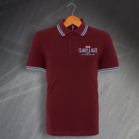 Burnley Football Polo Shirt Embroidered Tipped Claret & Blue Army It's a Way of Life