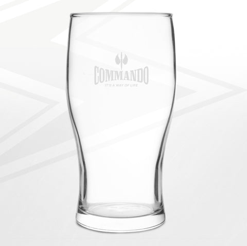 Commando Pint Glass Engraved It's a Way of Life