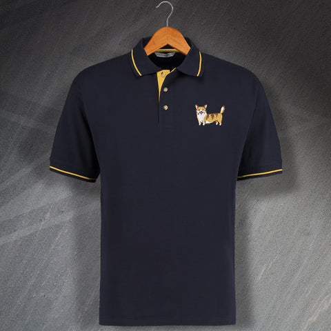 Corgi Polo Shirt Embroidered Contrast Coloured Badge