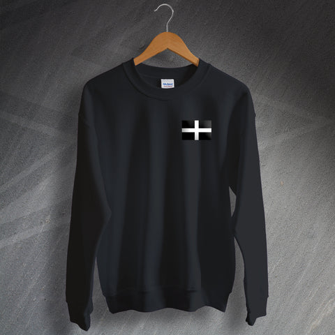 Cornwall Sweatshirt Embroidered Saint Piran's Flag