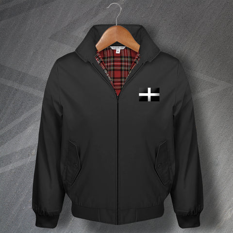 Cornwall Harrington Jacket Embroidered Saint Piran's Flag