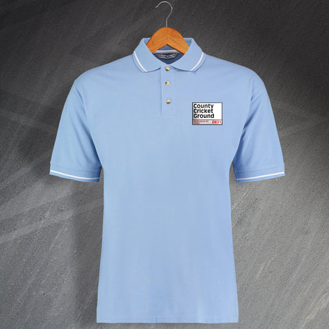 Derbyshire Cricket Polo Shirt Embroidered Contrast County Cricket Ground