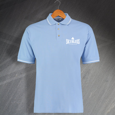 Coventry Football Polo Shirt Embroidered Contrast Sky Blues It's a Way of Life