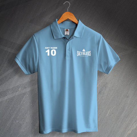 Coventry Football Polo Shirt Printed Personalised Sky Blues It's a Way of Life