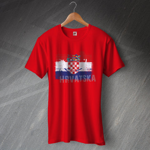 Croatia T-Shirt Grunge Flag of Croatia