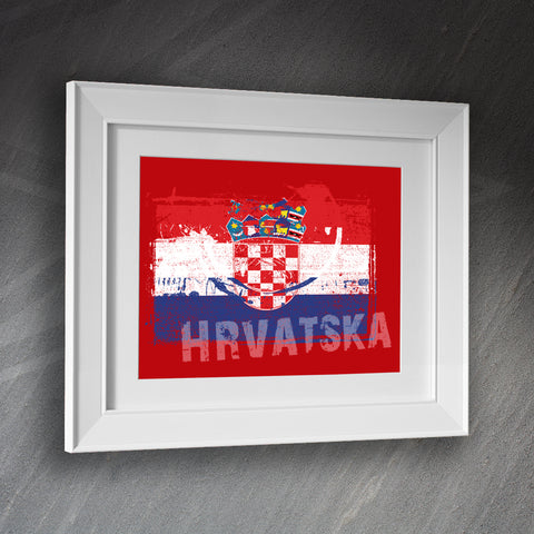 Croatia Framed Print Grunge Flag of Croatia