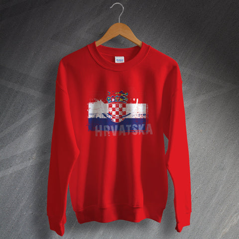 Croatia Sweatshirt Grunge Flag of Croatia