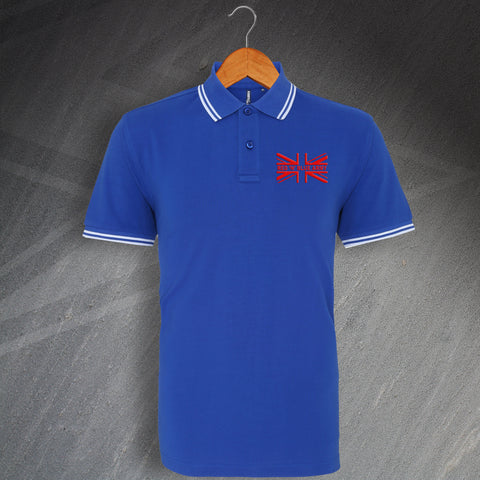 Palace Football Polo Shirt Embroidered Tipped Union Jack Red 'n' Blue Army