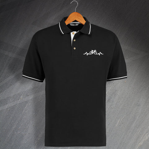 Bicycle Pulse Embroidered Contrast Polo Shirt