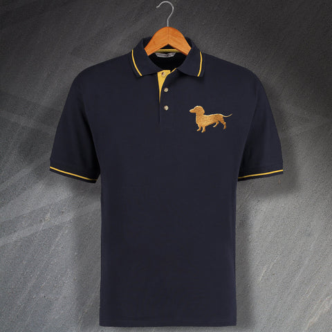 Dachshund Polo Shirt Embroidered Contrast