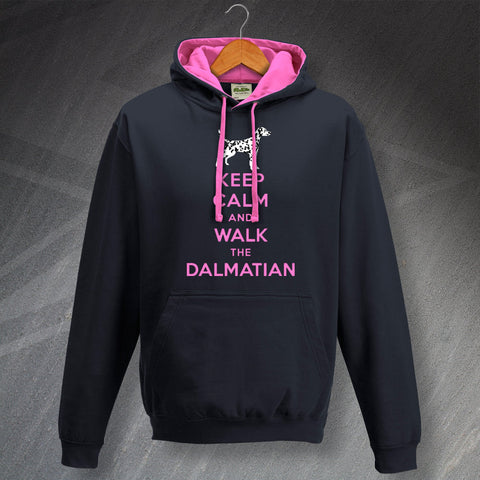Dalmatian Hoodie Contrast Keep Calm and Walk The Dalmatian