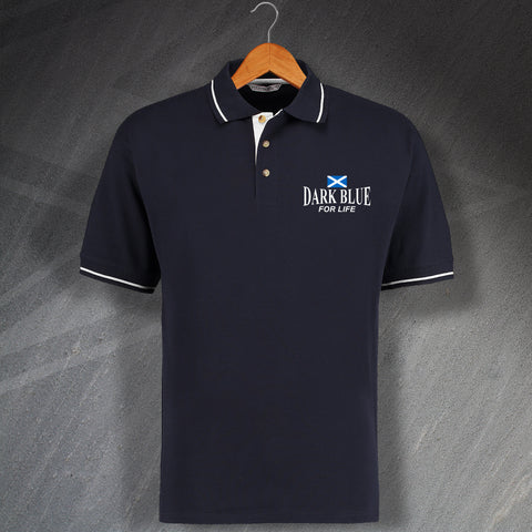 Dark Blue for Life Embroidered Contrast Polo Shirt