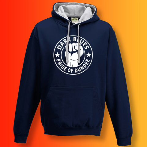 Dark Blues Pride of Dundee Contrast Hoodie