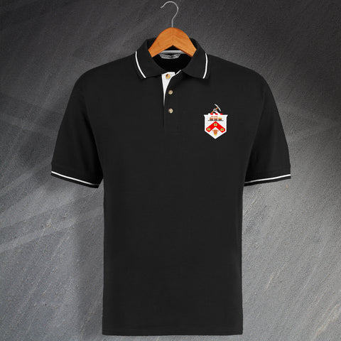 Retro Darlington Contrast Polo Shirt with Embroidered Badge