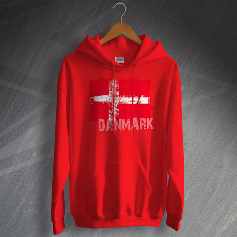 Denmark Football Hoodie Grunge Flag of Denmark