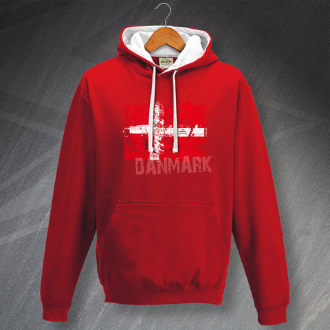 Denmark Football Hoodie Contrast Grunge Flag of Denmark