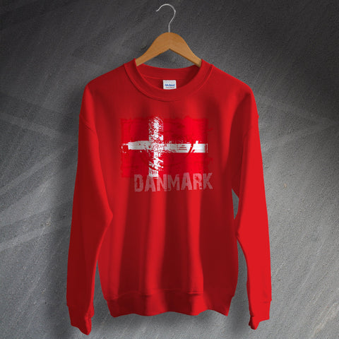 Denmark Football Sweatshirt Grunge Flag of Denmark