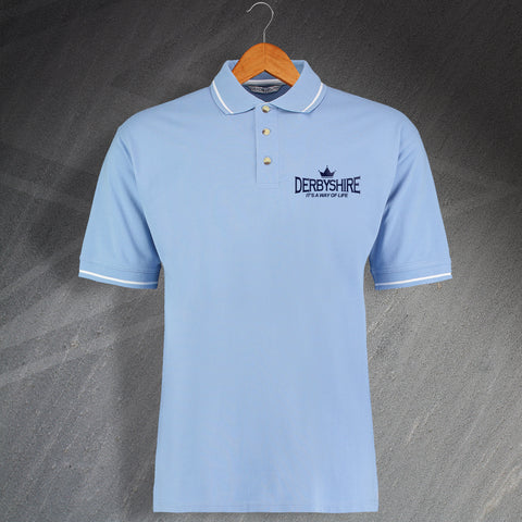 Derbyshire Cricket Polo Shirt Embroidered Contrast It's a Way of Life