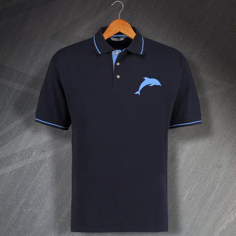 Dolphin Embroidered Contrast Polo Shirt
