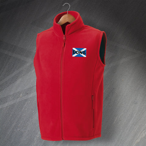 Aberdeen Football Fleece Gilet Embroidered Dons Grunge Flag of Scotland