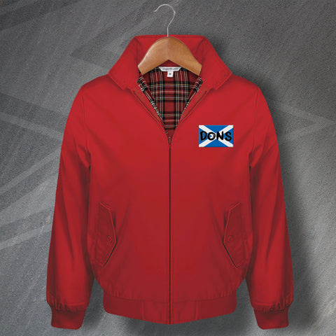 Aberdeen Football Harrington Jacket Embroidered Dons Grunge Flag of Scotland