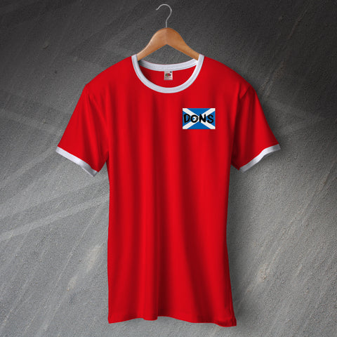 Aberdeen Football Shirt Embroidered Ringer Dons Grunge Flag of Scotland