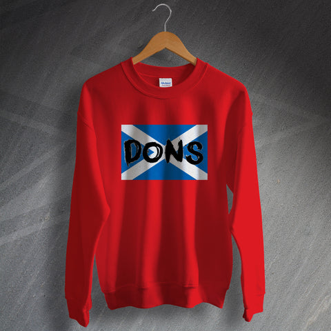 Aberdeen Football Sweatshirt Dons Grunge Flag of Scotland