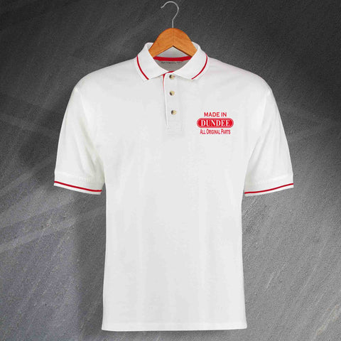 Made In Dundee All Original Parts Unisex Embroidered Contrast Polo Shirt