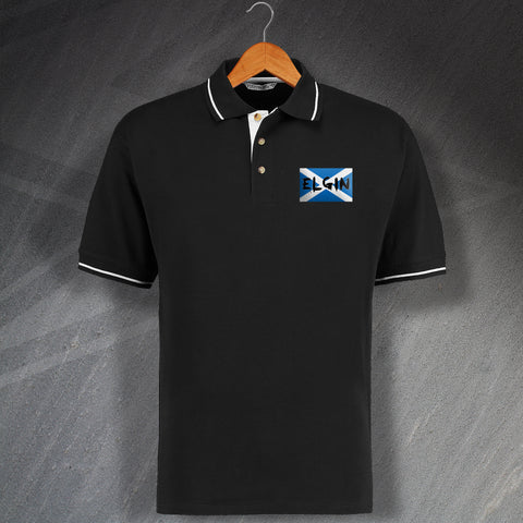 Elgin Football Polo Shirt Embroidered Contrast Grunge Flag of Scotland