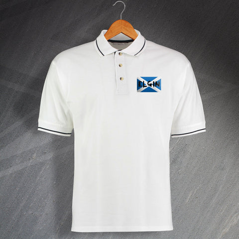Elgin Polo Shirt Embroidered Contrast Grunge Flag of Scotland