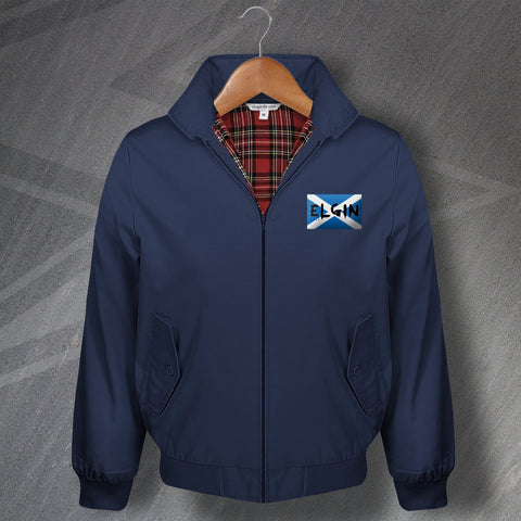 Elgin Harrington Jacket Embroidered Grunge Flag of Scotland