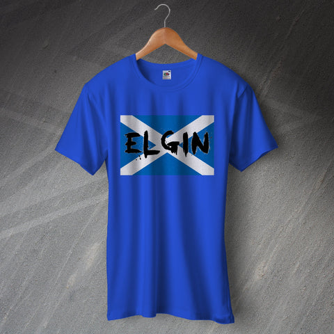 Elgin T-Shirt Grunge Flag of Scotland