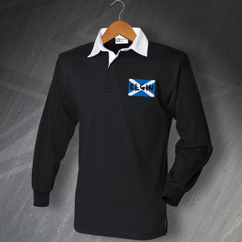 Elgin Football Shirt Embroidered Long Sleeve Grunge Flag of Scotland