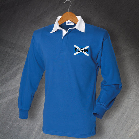 Elgin Rugby Shirt Embroidered Long Sleeve Grunge Flag of Scotland