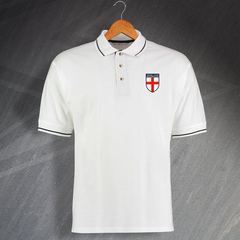 England Football Polo Shirt Embroidered Contrast Flag of England Shield
