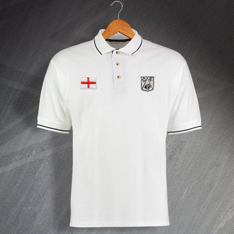 Derby Football Polo Shirt Embroidered Contrast 1946 & Flag of England