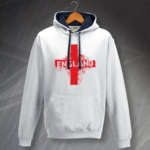 England Football Hoodie Contrast Grunge Flag of England