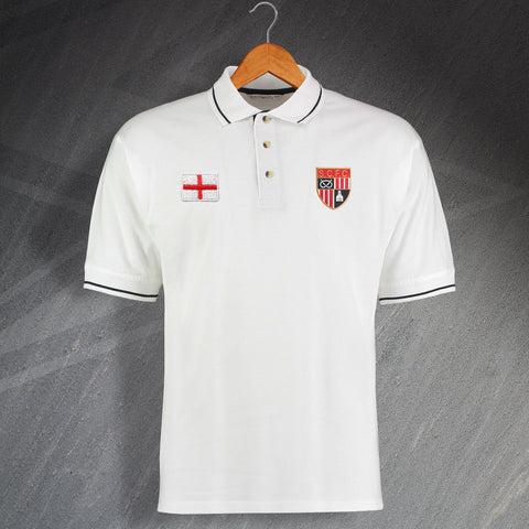 Stoke Football Polo Shirt Embroidered Contrast 1977 & Flag of England