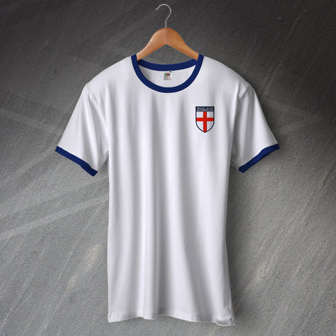 England Football Shirt Embroidered Ringer Flag of England Shield