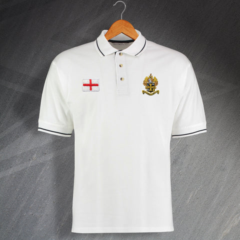 England Football Polo Shirt Embroidered Contrast Flag of England Personalised Badge