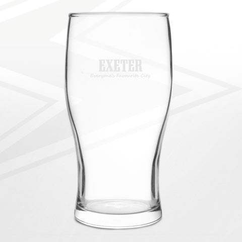 Exeter Pint Glass Engraved Everyone's Favourite City