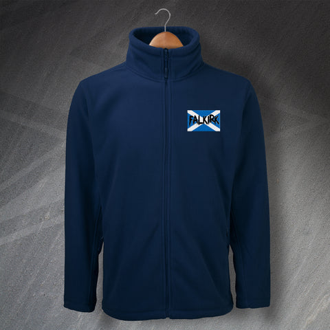 Falkirk Football Fleece Embroidered Grunge Flag of Scotland