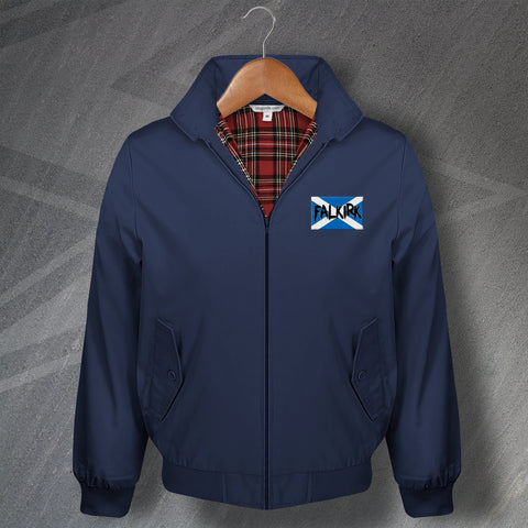 Falkirk Football Harrington Jacket Embroidered Grunge Flag of Scotland