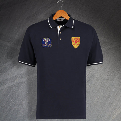 Falkirk Football Polo Shirt Embroidered Contrast 1957 & 1879 Scotland National Team Badge