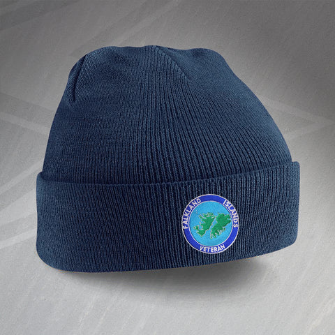 Falkland Islands Veteran Beanie Hat Embroidered