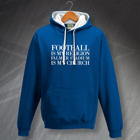 Brighton Football Hoodie Contrast Football is My Religion Falmer Stadium is My Church
